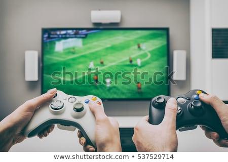 Man spelen actie spel computer jonge Stockfoto © AndreyPopov