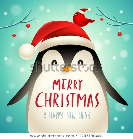 Рождества Cute мало пингвин Cap животного Сток-фото © ori-artiste