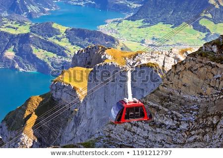 Stock photo: Mount Pilatus aerial cabelway above cliffs landscape