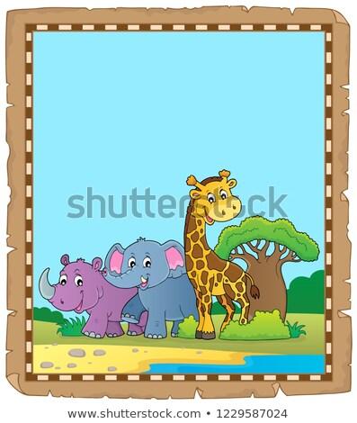 Pergamino África animales agua papel arte Foto stock © clairev