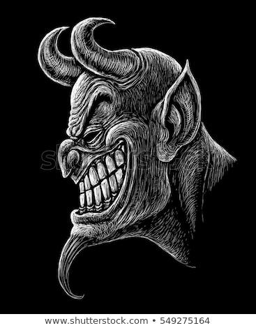 Stock fotó: Ijedt · rajz · ördög · ikonok · ikon · gyűjtemény · kifejezések