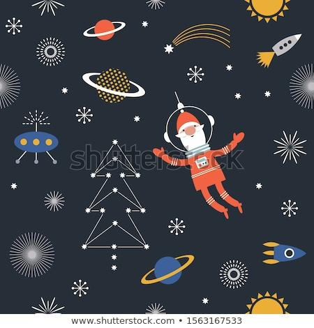 Vidám karácsony mikulás rakéta rajz rajzfilmfigura Stock fotó © Krisdog