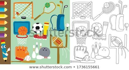 Karikatür çocuk beysbole benzer top oyunu örnek oynama çocuklar Stok fotoğraf © cthoman