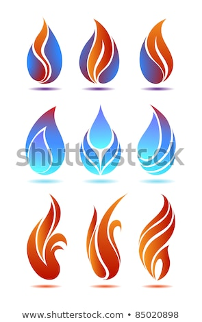 Fire Classic Style Flames on Blue Background Vector Illustration Stock photo © jeff_hobrath