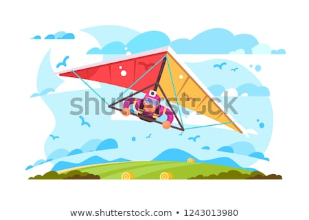 Cartoon man flying on hang glider poster Stock photo © jossdiim