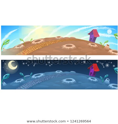 little fairy house on the moon vector cartoon close up illustration stock photo © lady-luck