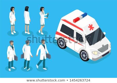 Nővér orvos mentő autó szín szalag Stock fotó © robuart