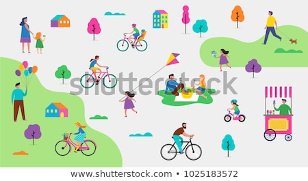 Cycling Couple Jogging Family Vector Illustration Stock photo © robuart
