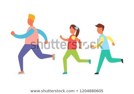 セット · 子供 · を実行して · 実例 · 幸せ · スポーツ - ストックフォト © robuart