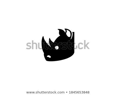 Cute wild animal, gray walking rhinoceros icon Stock photo © MarySan