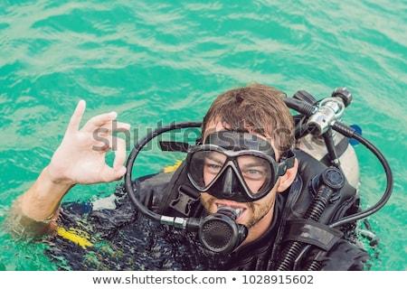Wyposażenie nurkowania podwodne kompas gotowy nurkowania Zdjęcia stock © galitskaya