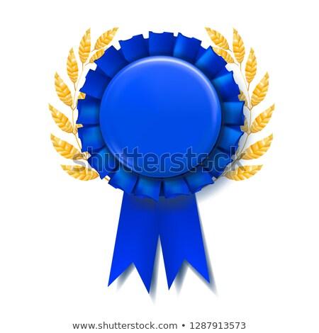 Kék díj szalag vektor jutalom absztrakt Stock fotó © pikepicture