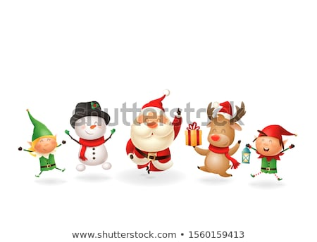 Kaarten kerstman rendier elf dwerg vector Stockfoto © robuart