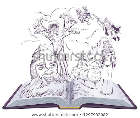 ruslan and ludmila poem by alexander pushkin open book illustration russian fairy tale stock photo © orensila