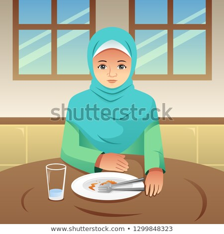 Muszlim nő befejezett eszik illusztráció reggeli Stock fotó © artisticco