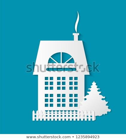 Houses Monochrome Silhouette Multi Storey Building Stock photo © robuart