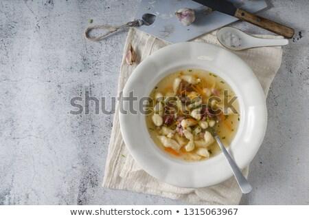 füme · et · çorba · makarna · içinde · ev · yapımı - stok fotoğraf © Peteer