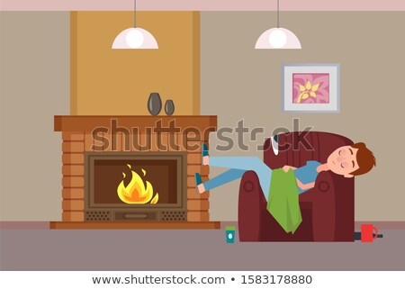 Person Covered with Blanket Sleeping by Fireplace Stock photo © robuart