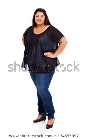 ストックフォト: 小さな · 太り過ぎ · 女性 · 立って · 孤立した · 黄色