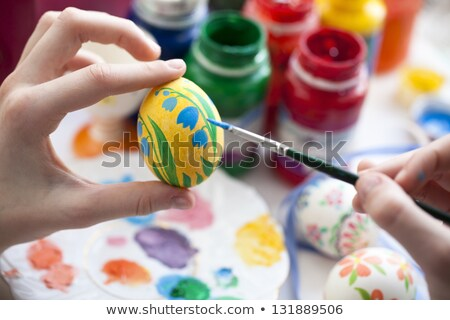 Tarka húsvéti tojás ecset kéz festett valósághű Stock fotó © Artspace