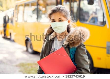 小さな 女性 学生 スクールバス 学校 作業 ストックフォト © feverpitch