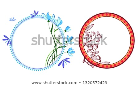 Wreath set with flowers, herbs, bluebell, snowdrop, tree branches. Vector graphic illustration. Stock photo © heliburcka