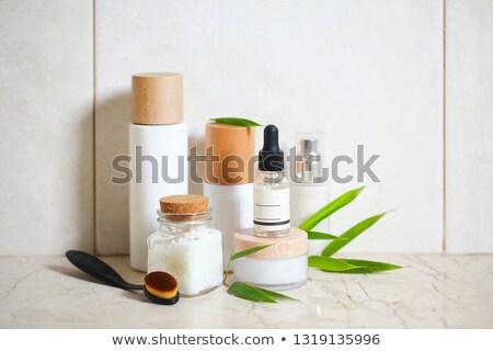 Crema per il viso siero lozione sale marino bambù Foto d'archivio © dashapetrenko