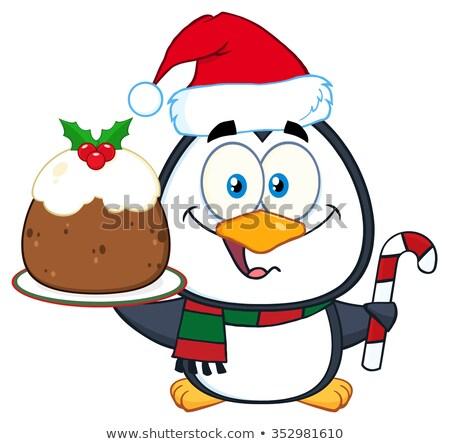 Aranyos pingvin rajzfilmfigura tart karácsony puding Stock fotó © hittoon