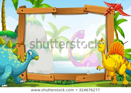 динозавр · границе · иллюстрация · дизайна · шаблон - Сток-фото © bluering