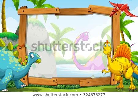 A dinosaur on paper border Stock photo © bluering