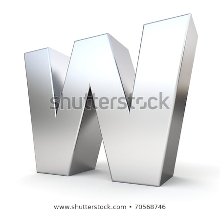 Chrome font with colorful reflections Letter W 3D Stock photo © djmilic