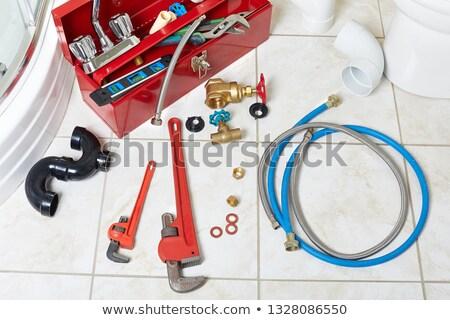 Sanitair tools pijp sleutel badkamer home Stockfoto © Kurhan