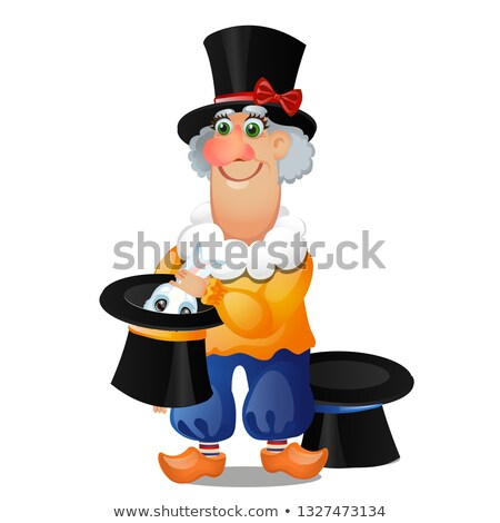 An animated magician pulls a rabbit out of a hat isolated on white background. Vector cartoon close- Stock photo © Lady-Luck