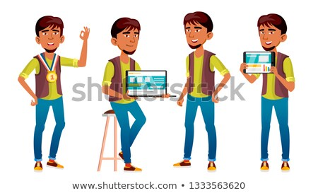 Arab, Muslim Boy Poses Set Vector. High School Child. Programmer, Technology. Winner. Young People,  Stock photo © pikepicture