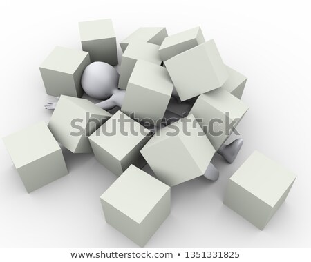 3d man covered under boxes cubes Stock photo © ribah