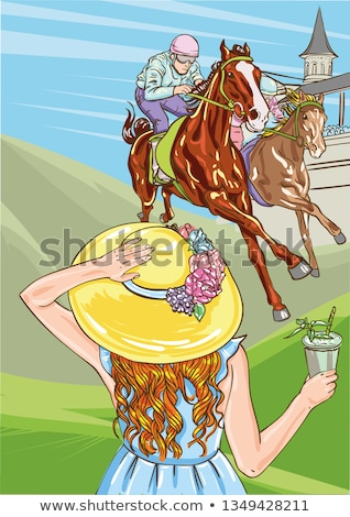Horse racing competition. Vector illustration. Derby. Woman with cocktail in hat. Stock photo © bonnie_cocos