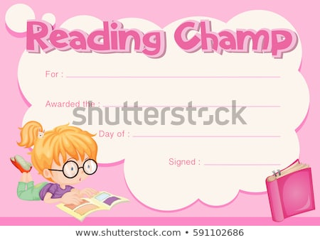 Reading champ certificate with girl reading book Stock photo © colematt
