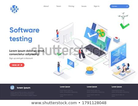 Beta testowanie banner malutki ludzi biznesu Zdjęcia stock © RAStudio