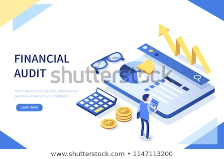 Flat isometric vector concept of financial audit service, tax examination report Stock photo © TarikVision