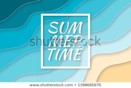 Nyár idő papír vág stílus kék Stock fotó © olehsvetiukha