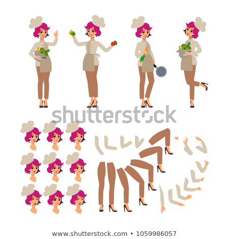Animated cartoon character. Cook female personage constructor. Fun cartoon person. Isolated on white Stock photo © bonnie_cocos