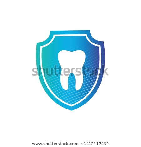 Stock photo: strong white tooth in protection shield with stripes