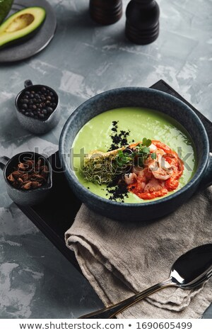 Delicious cream soup with asparagus and shrimp Stock photo © Melnyk