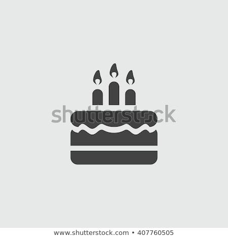 именинный торт сжигание свечей вектора изолированный икона Сток-фото © robuart