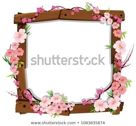 Asiático rosa japonês sakura moldura de madeira ilustração Foto stock © colematt