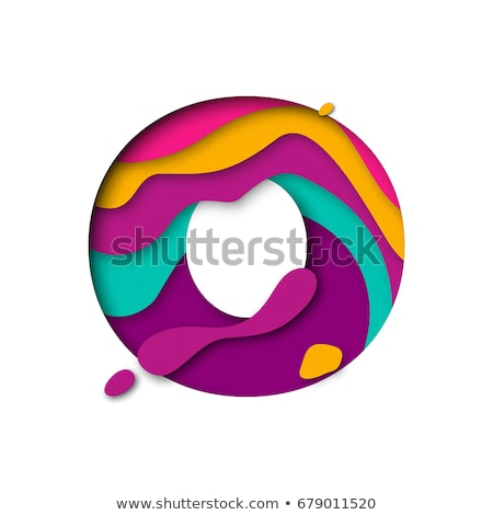 colorful paper cut out font letter o 3d stock photo © djmilic