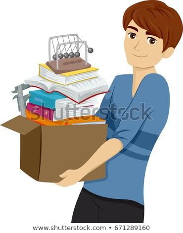 Adolescente cara faculdade física caixa ilustração Foto stock © lenm