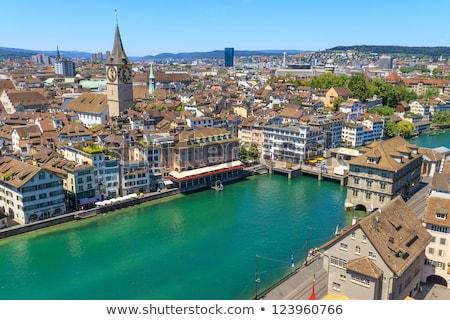 Folyó Zürich kilátás templom Svájc város Stock fotó © borisb17