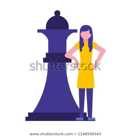 Mujer jugando ajedrez torneo movimiento peón Foto stock © Kzenon