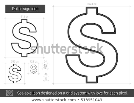 Dollarteken vector lijn icon geïsoleerd witte Stockfoto © kyryloff